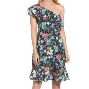 Chelsea 28 Floral Print Ruffle One Shoulder Dress